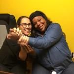 Ladye Franklin (left) of United Way's Success by 6 and Tonya Wilson, Director of New Beginnings Childcare Center, breathe a sigh of relief after completing a grant application.